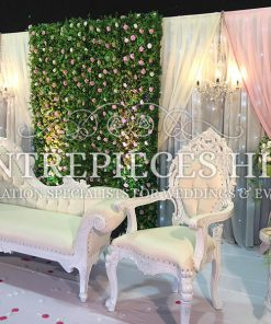 Garden theme flower backdrop with draping